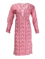 Imperial Chikan Women's Cotton Straight Kurta (14006, Pink, 44)