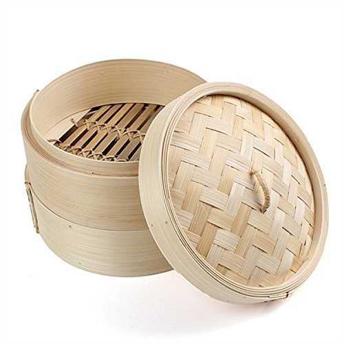 KING DO WAY Two Tiers Chinese Dim Sum Basket Rice Pasta Bamboo Steamer Cooker Set Food Steamers with Lid (Chinese Steam Basket compare prices)