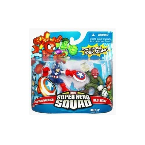 Marvel Superhero Squad Series 9 Mini 3 Inch Figure 2-Pack Captain America and the Red Skull by Hasbro (English Manual)