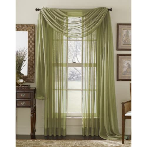 84 Long Sheer Curtain Panel Sage Green