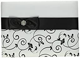 Lillian Rose Guest Book, 8.5-Inch, Black and White