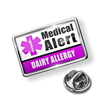 Pin Medical Alert Purple Dairy Allergy - Lapel Badge - NEONBLOND by NEONBLOND