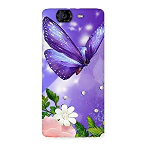 Cute Voilate Butterfly Back Case Cover for Canvas Knight A350
