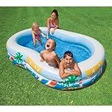 Intex 8.6 X 5.25 X 1.2 Paradise Lagoon Inflatable Kiddie Swimming Pool, Made Of Heavy Gauge Vinyl, Up To 2 3 Kids