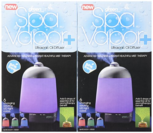GreenAir Spa Vapor + Advanced Wellness Instant Healthful Mist Therapy (2 Pack)