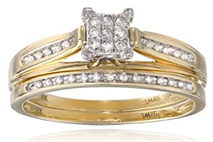 10k Yellow Gold Diamond Square Center Bridal Ring Set (1/7 cttw), Size 9