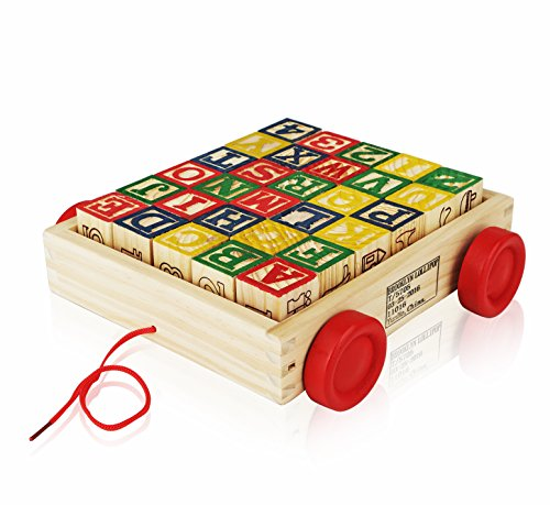 Wooden Alphabet Blocks, Best Wagon ABC Wooden Block Letters Come in a Pull Wagon for Easy Storage and Movement, Most Entertaining Wooden Toy for Toddlers, 30 Pieces Set. (Monster Truck Floor Puzzle compare prices)