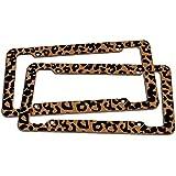 Oxgord 2 pc. Leopard Print Plastic License Plate Frame, Orange Brown