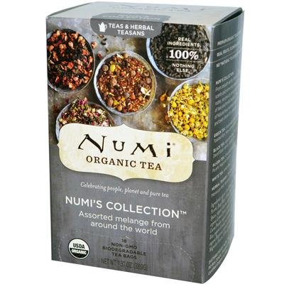 Numi Organic Tea Numi's Collection, Assorted Full Leaf Tea and Teasan - 18 Tea Bag, Pack of 12