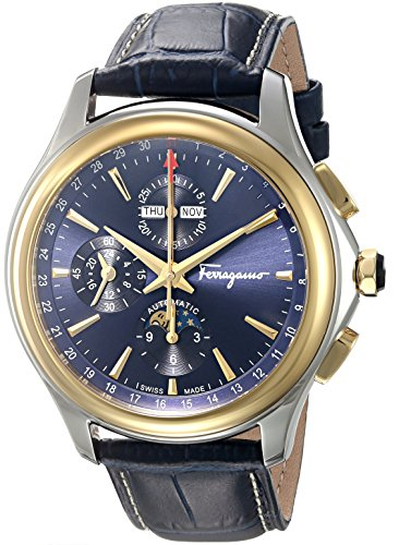 Salvatore-Ferragamo-Mens-Time-LE-Automatic-Stainless-Steel-and-Leather-Casual-Watch-ColorBlue-Model-FFU020016