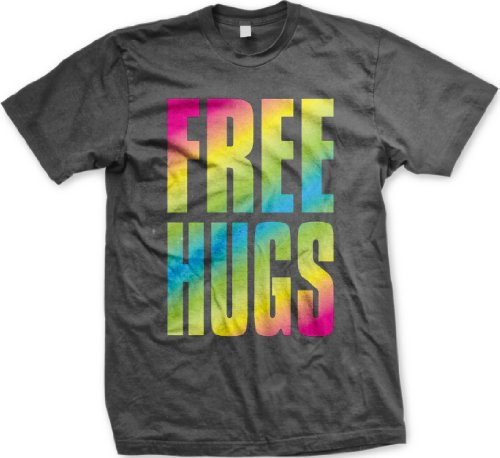 Oversized Rainbow Free Hugs Mens T-shirt, Big and Bold Neon Free Hugs Men's Tee Shirt,  Charcoal