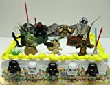Star Wars Birthday Cake Topper Set Featuring 7 Random Star Wars Figures and Themed Decorative Cake Accessories