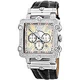 "JBW Men's JB-6215-238-B ""Phantom"" Silver Diamond And Stainless Steel Bezel Leather Band Watch"
