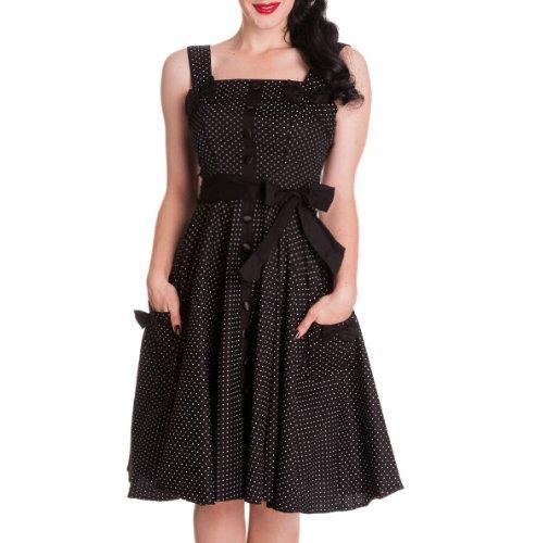 HELL BUNNY Pinup Kitsch 50s DRESS Gery Retro POLKA DOT Black All Sizes