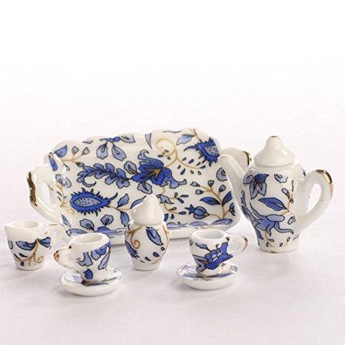 Miniature Elegant Blue Floral Painted Ceramic Tea Set