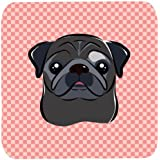 "Caroline's Treasures BB1263FC Checkerboard Pink Black Pug Foam Coaster (Set Of 4), 3.5"" H X 3.5"" W, Multicolor"