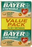Bayer Chewable Aspirin Low Dose 81mg Orange Flavor (81 mg), 108-Count Tablets