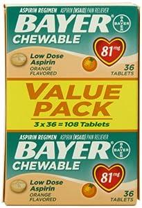 Bayer Chewable Aspirin Low Dose 81mg Orange Flavor (81 mg), 108-Count Tablets