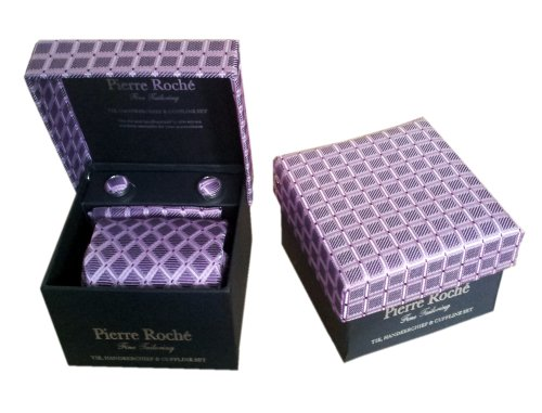 Pierre Roché Mens Tie, Handkerchief & Cufflink Set, Pink With Check Knitting In A Gift Box