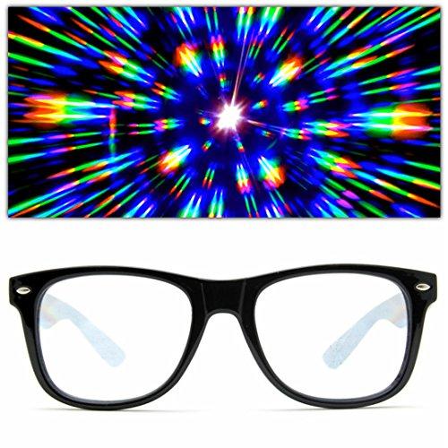 GloFX Ultimate Diffraction Glasses - Black - 3D Prism Effect EDM Rainbow Kaleidoscope Style Sunglasses