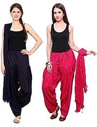 Fashion Store Patiala Salwars And Dupatta Set Combo(Free Size, Pink & Navy Blue )