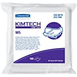 """Kimberly-Clark Kimtech 06179 Pure Disposable Wiper with W5 Dry, 9"""" Length x 9"""" Width, White (5 Bags of 100)"""