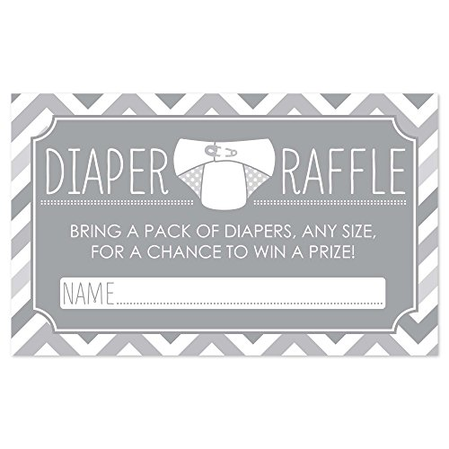 Diaper Raffle Baby Shower Game in Gray - 18 Count