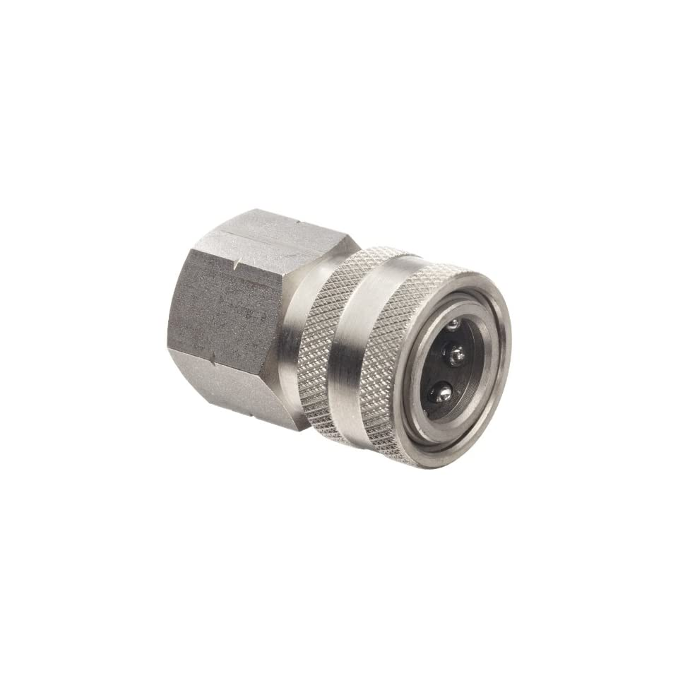 Dixon STFC3SS Stainless Steel 303 Hydraulic Quick Connect Fitting, Coupler, 3/8 Female Coupling, 3/8 18 Straight Thread