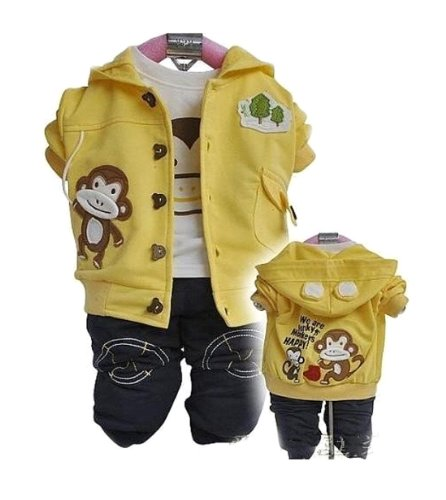 Sopo Baby Boys Monkey 3 Piece Set (Jacket, Tshirt, Pants ) Outfits Yellow 1-3Y front-1049791