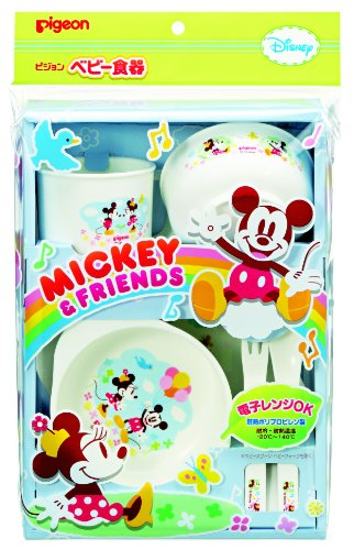 Pigeon Baby Tableware Set <Mickey & Friends> front-778570