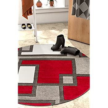 """Uptown Squares Red Grey Modern Geometric Comfy Casual Hand Carved 5 Round (53"""" Round) Area Rug Easy to Clean Stain Fade Resistant Abstract Boxes Contemporary Thick Soft Plush Living Dining Room Rug"""