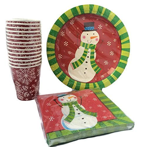Red and green christmas snowmen style disposable dinnerware and