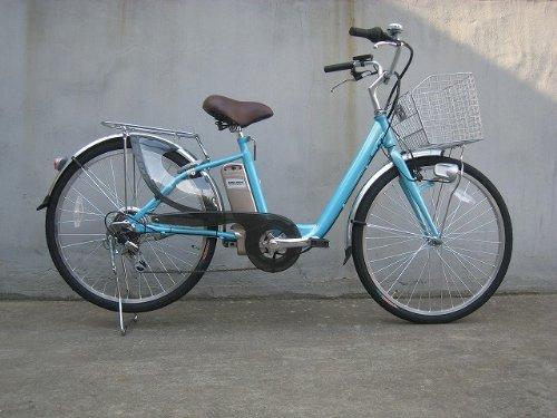 電動アシスト自転車 はやぶさ号 水色 26インチ 24ボルト6アンペア リチウムイオンバッテリー 整備済完成車納入