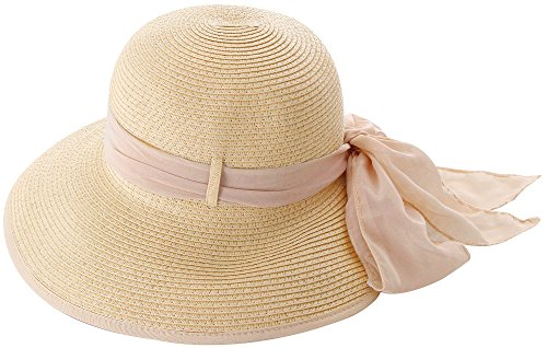 [Simplicity Summer Sun Protective Straw Hat Natural Color w/ Pink Ribbon] (Straw Farmer Hats)