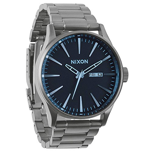 Nixon A3561427 Sentry SS Gunmetal / Blue Crystal Dial Steel Band Men Watch NEW
