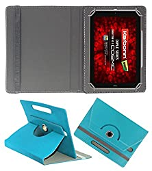 Acm Rotating 360° Leather Flip Case For Karbonn Cosmic Smart Tab 10 Cover Stand Greenish Blue