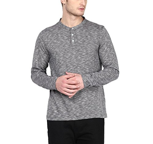American-Crew-Mens-Henley-Full-Sleeve-Slub-T-Shirt-Black-White