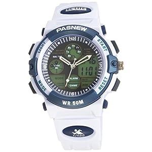 PASNEW 50M Waterproof Unisex Boys Girls Dual Time LED Digital Analog Sports Wrist Watch (White)