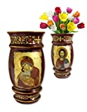 Catholic Icon Dark Red Flower Vase 6 1/2