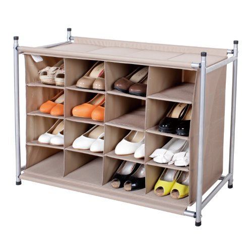 StorageIdeas 16 Compartment Shoe Cubby, 16-Pair Chocolate Shoes Organizer, 16-Cubby Shoe Storage
