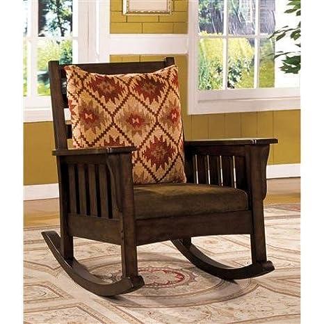 Mwave IDF-AC6401 Rosewood Rocking Chair, Material: Wood, wood veneers, fabric, foam padding, Finish: Dark Oak