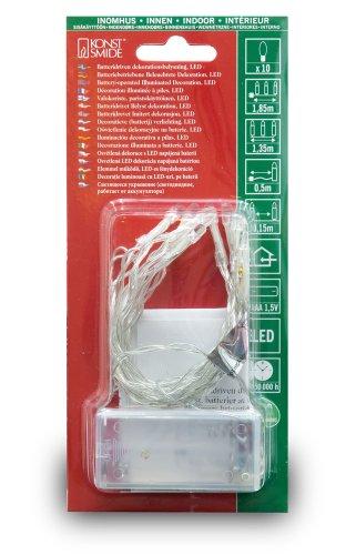 Konstsmide 1407-453 LED Lichterkette 10 purpure Dioden / Batterien: 2xAA 1.5V / transparentes Kabel