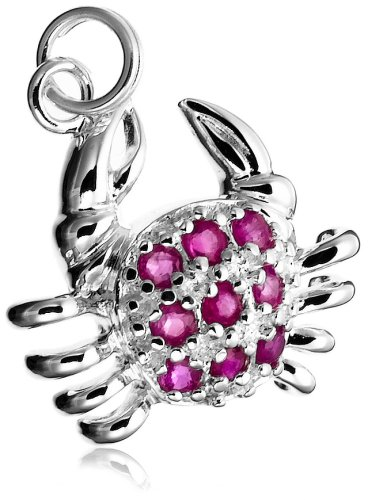 Sterling Silver Ruby Crab Charm