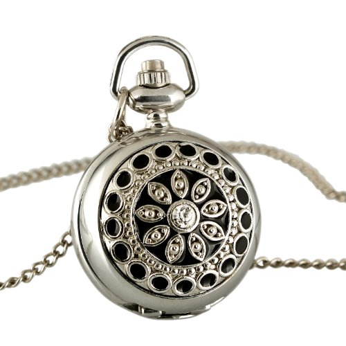 ESS Ladies' Women Stainless Steel Case Black Pattern Front Necklace Pendant Pocket Watch WP021