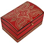 Red Jewelry Box - SouvNear Treasure Chest Decorative Wood Keepsake Storage Jewelry Storage Box for Girls and Women (Cone Painting Art)