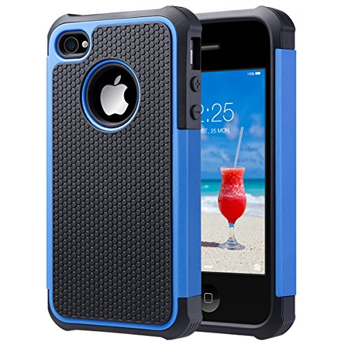 iPhone 4S Case, iPhone 4 Case, ULAK Hybrid Dual Layer Protective Case Cover with Hard Plastic and Soft Silicone for iPhone 4S & iPhone 4 (Black+Blue) (Mobile Case Iphone 4s compare prices)