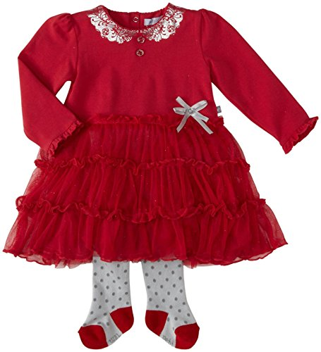 Petit Lem Baby Girls' Holiday Peter Pan Dress w/ Tights (Baby) - Red - 12 Months