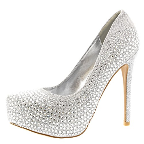Womens Evening Platforms High Heels Stiletto Diamante Party Court Shoes - Silver - US7/EU38 - KL0115
