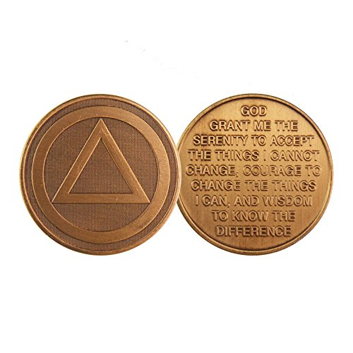 AA Logo - Bronze AA (Alcoholics Anonymous) -ACA-AL-ANON - Sober / Sobriety / Affirmation / Birthday / Anniversary / Desire / Recovery / Medallion / Coin / Chip