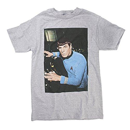 Star Trek Spock Control Adult Heather Gray T-Shirt (Adult Medium)